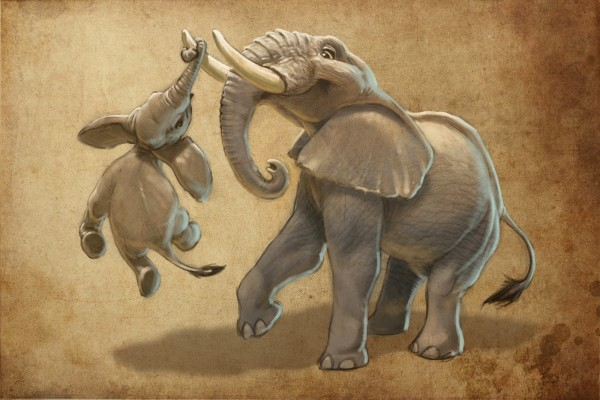 Tembo_hanging_from_tusk